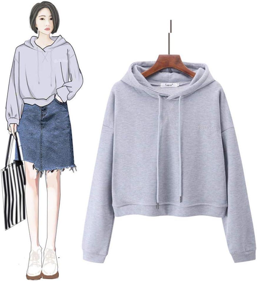 Lssing Damen Sweatshirt Pullover Langarmshirts Jumper,Lose Kapuze Frühling und Herbst Pullover kurzen Pullover Top Coat T-Shirt grau