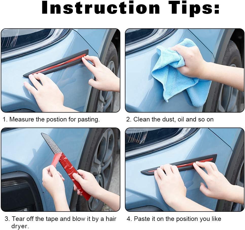 White ATMOMO 2pcs Car Bumper Guard Protector Sticker Carbon Fiber Car Front Rear Corner Guard Anti-Collision Strip