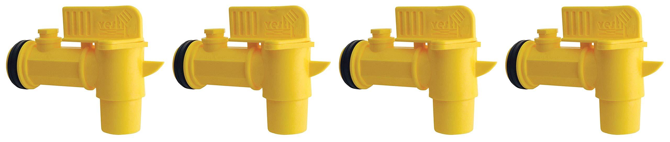Vestil JDFT Plastic Manual Handle Jumbo Drum Faucet, Fits 2'' Drum Openings (Fоur Paсk, Yellow)