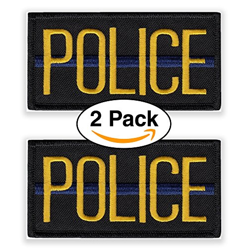 Police Officer Patch - Police Officer Patch Chest or Shoulder (2 Pack) 4 x 2 inches Embroidered Yellow on Black with Blue Strip