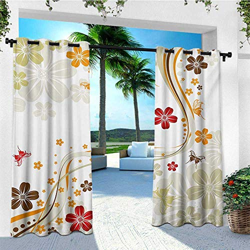leinuoyi Floral, Outdoor Curtain Set, Swirling Florets Fragrance Botanical Beauty with Wavy Lines Butterflies Spring Theme, for Patio W108 x L108 Inch Multicolor