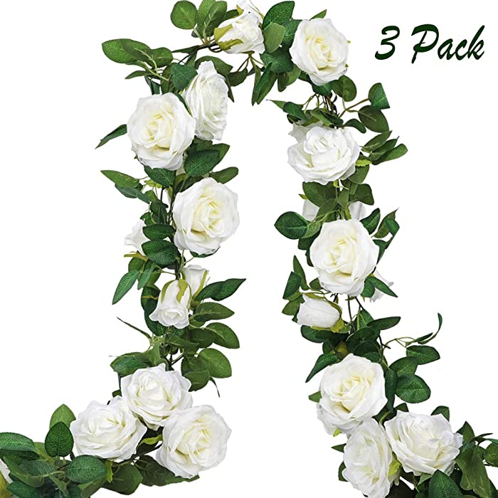 AGEOMET 3pcs Artificial Rose Vine Fake Silk Rose Hanging Vine Flowers Garland for Outdoor Wedding Arch Garden Wall Decor (White, 19.5ft Total)