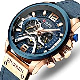 Men's Sport Chronograph Wristwatch Military Casual Waterproof Blue Leather Watch for Men with Date Display …