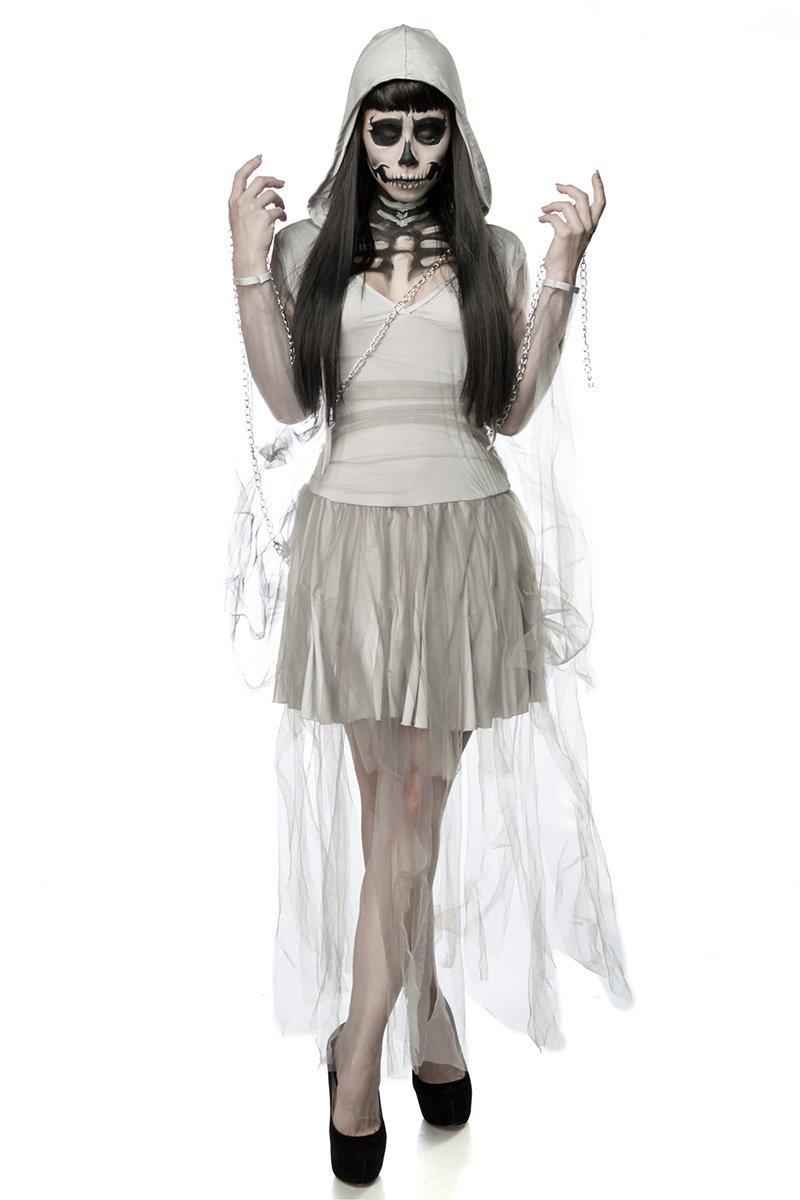Damen Horror Skelett Geist Kostüm Verkleidung aus Kleid, Kapuze, Kette in grau OneGröße XS-M