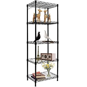 YOHKOH 5-Wire Shelving Metal Storage Rack Heavy Duty Adjustable Shelves for Laundry Bathroom Kitchen Pantry Closet, Black