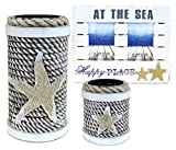 Puzzled Large and Small Rope Candle Holder and Picture Frame Handcrafted Wooden Nautical Decor - Beach/Ocean/Sea Life Theme - Set of 3 - Item #K9573-9574-9575