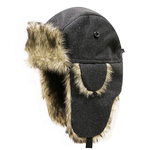 Amazon.com  City Hunter W300 Premium Solid Wool Trapper Hat - Gray  Clothing 49cc53494368