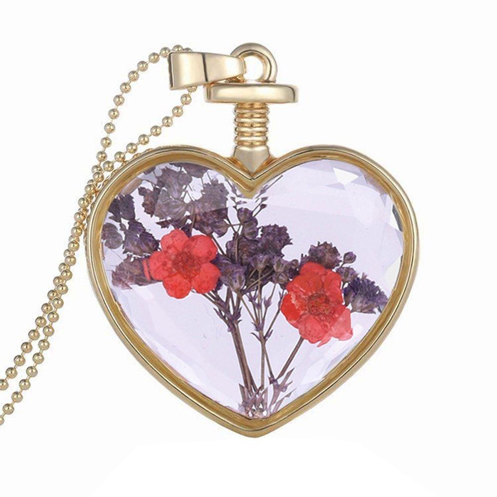 fablcrew Damen–Halskette mit Anhänger–Blume violett in Herzform–Legierung–60cm
