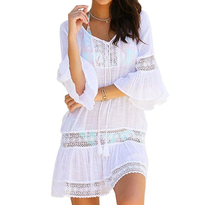 79babe387a Women Swimsuit Cover up Cardigan Swimwear Beachwear Plus Size (A-White)