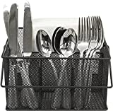 Sorbus Utensil Caddy — Silverware, Napkin Holder, and Condiment Organizer — Multi-Purpose Steel Mesh Caddy—Ideal for Kitchen, Dining, Entertaining, Tailgating, Picnics, and Much More (Black)