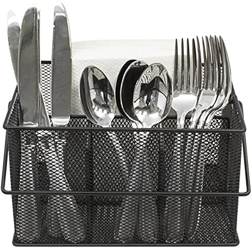 Sorbus Utensil Caddy — Silverware, Napkin Holder, and Condiment Organizer — Multi-Purpose Steel Mesh Caddy—Ideal for Kitchen, Dining, Entertaining, Tailgating, Picnics, and much more (Black) (Plastic Utensil Holder)