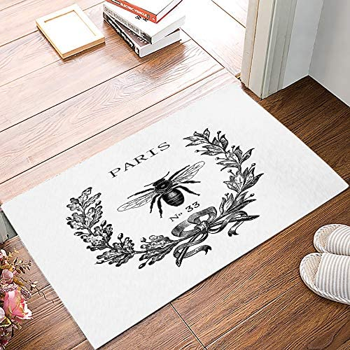 Womenfoucus Front Door Mat, Inside or Outside Entryway Front Door Welcome Mat, Shoes Scraper, Easy to Clean, Waterproof, Non Slip, Durable, Catches Dust and Snow – Rue Lafayette Bee 32 x 20 inches