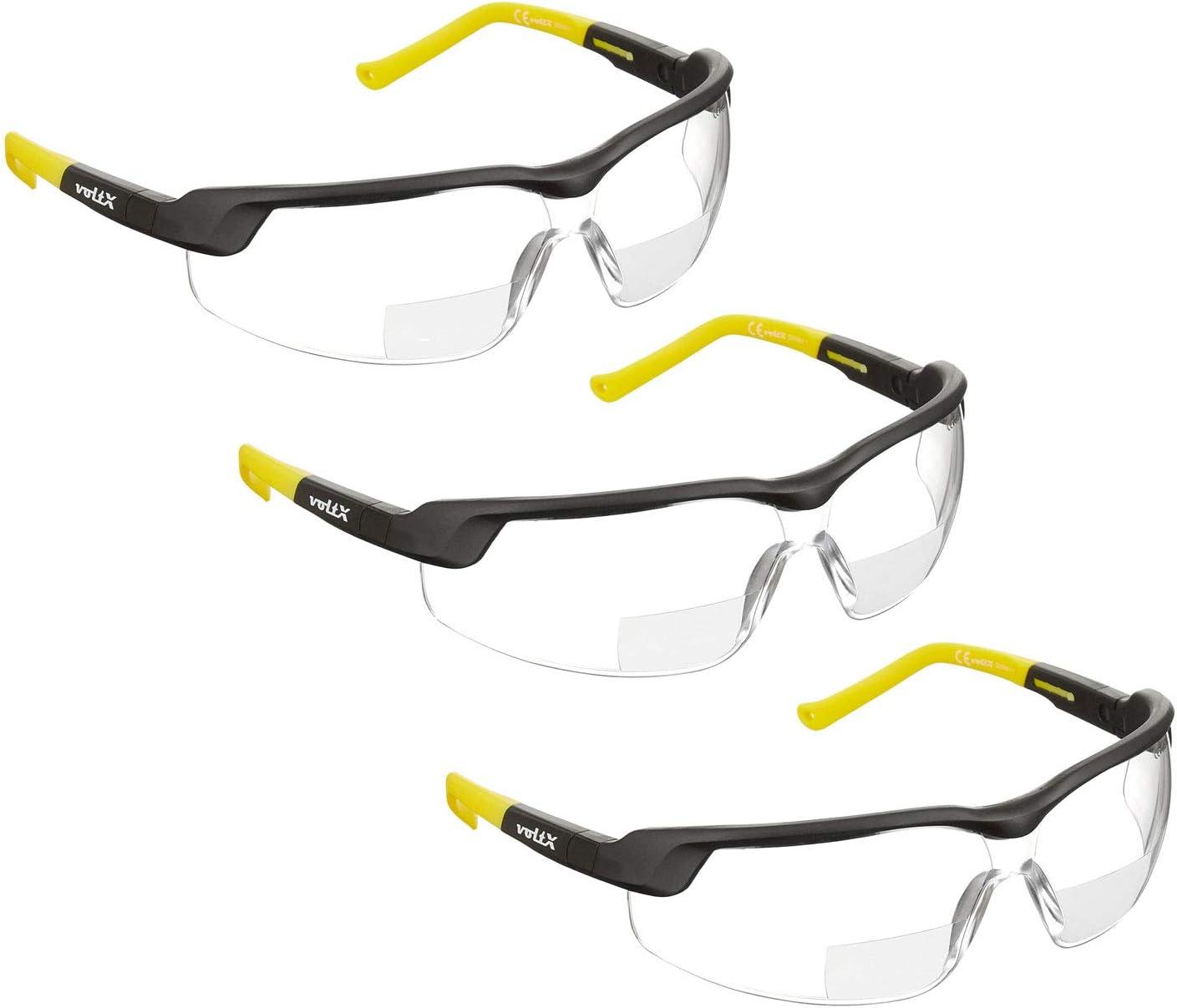 2020 model Scratch resistant Bifocal Reading Safety Glasses UV400 Lens Clear Lens +3.0 voltX GT ADJUSTABLE Rigid Clamshell Safety Case. CE EN166FT Certified Anti fog coated
