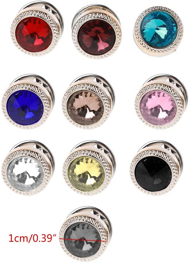 LLLucky 10Pcs Multi-Use Round Crystals Small Safety Pins Brooches DIY Sweater Shawl Clip