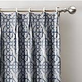 ChadMade Neutral Trellis Window Curtains 100″ W x 84″ L, Pinch Pleated Modern Lattice Drapery Panel With Blackout Lining (1 Panel), Sapphire Blue