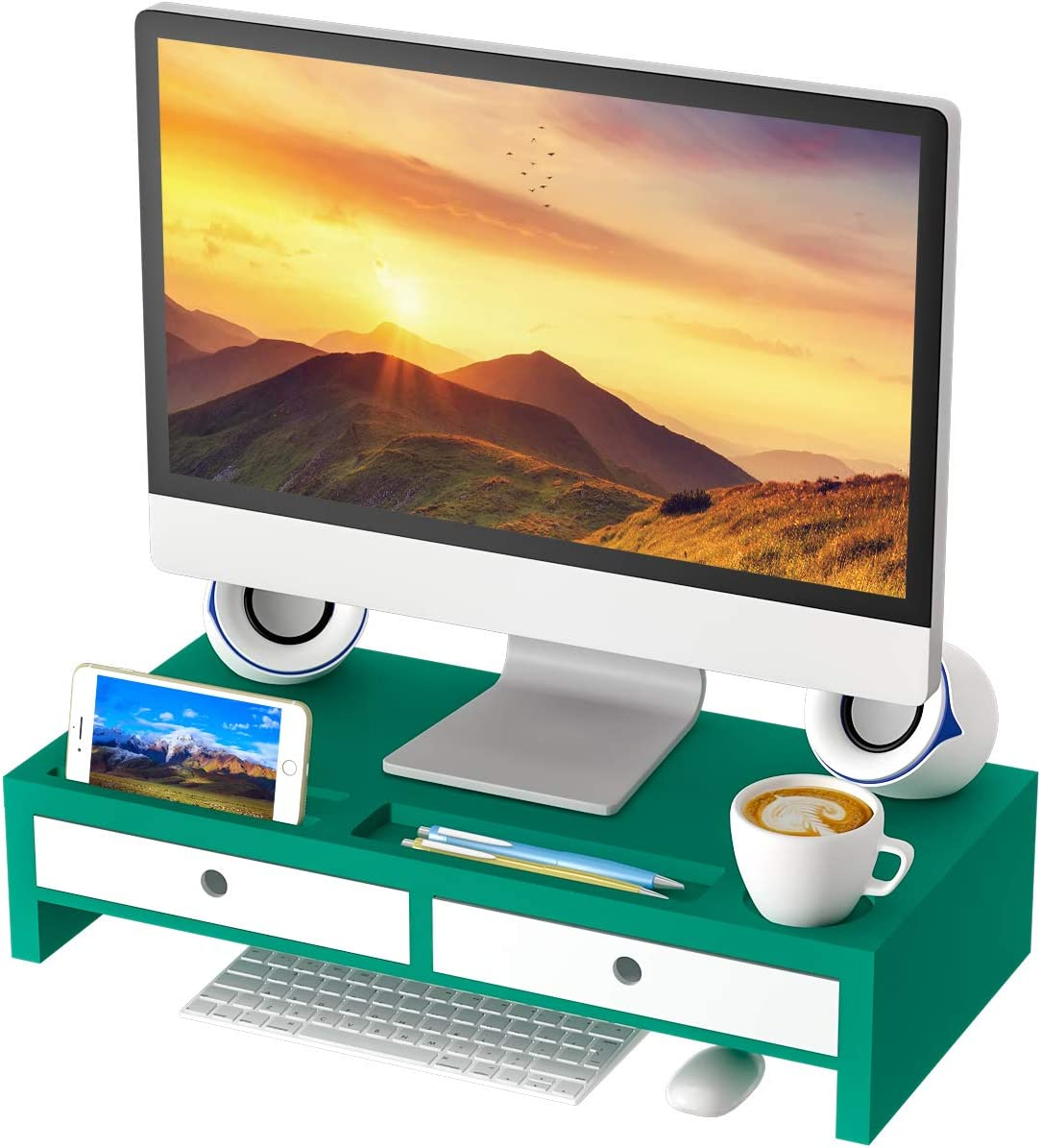 Computer Monitor Stand Desk Organizer – Assembled Green Wood Screen Laptop Printer Riser with Drawers 22.05L 10.60W 4.70H Inch