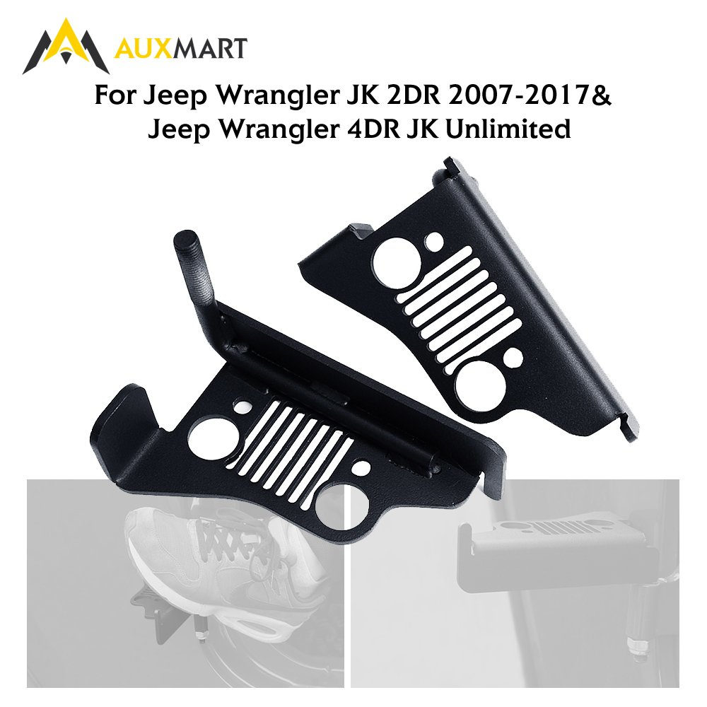 AUXMART Foot Pegs for 2007-2017 Jeep Wrangler Jk & Unlimited Black - Pair