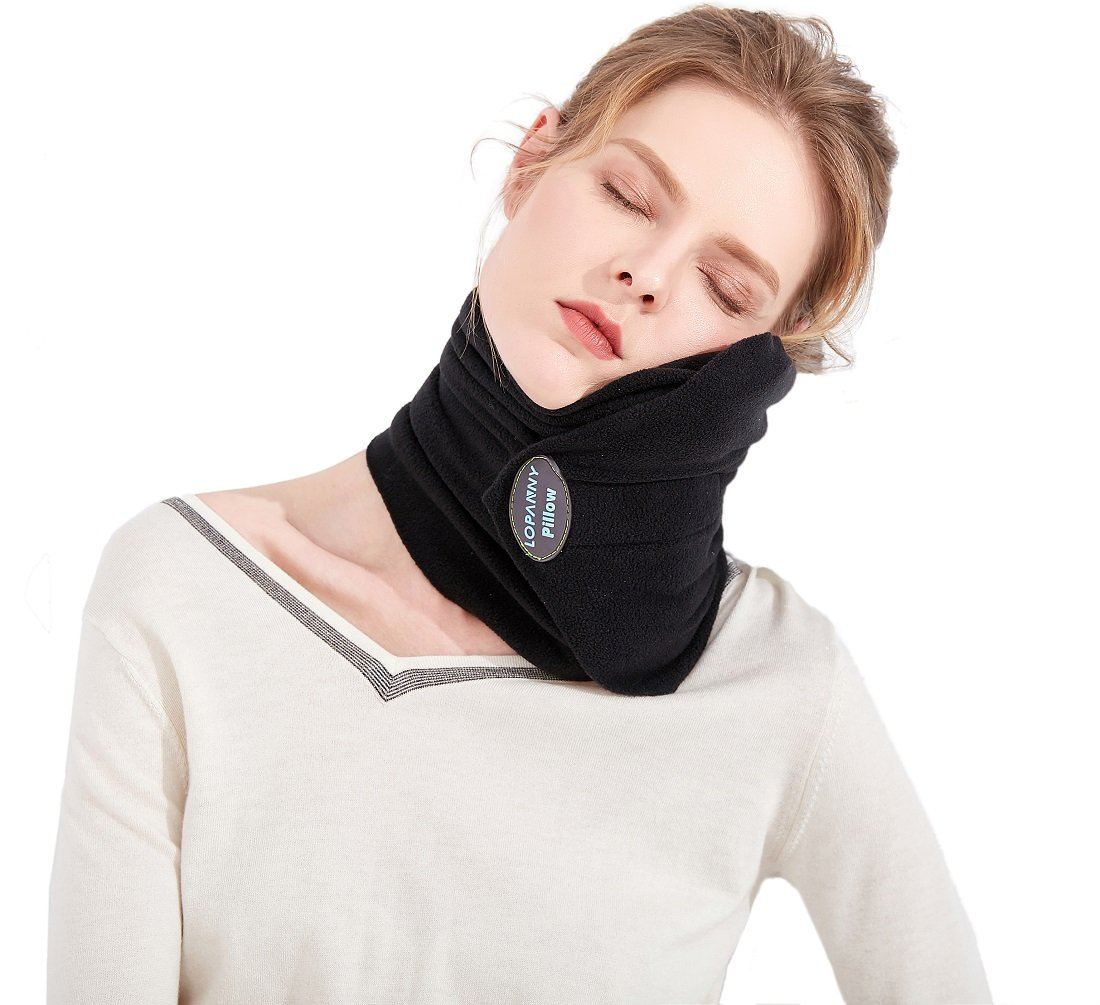 Upgraded Travel Neck Pillow - Scientifically Proven Neck Support Travel pillow with Super soft fleece Cover- Lightweight and Portable Unisex Airplane Travel Pillow for Adults and Teenagers(BLACK)