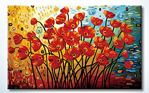 - FramedPBN Paint by Numbers Kits, Paintworks, Blooming Poppies, 13.4