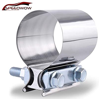 "SPEEDWOW 2.0"" Butt Joint Exhaust Band Clamp Sleeve Stainless Steel: Automotive"