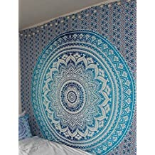 Handicrunch Indian Mandala Ombre Blue White Bohemian Boho Large Throw Bed Sheet Wall Hanging Tapestry Queen Size Tapestry