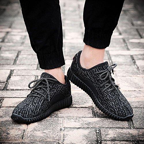 Sitaile Unisex Mens Stringhe Scarpe Da Corsa Profilo Luminoso Suola Scarpe Sportive Appartamenti Corridori Sneakers Sportive Sneakers, Tutto Nero, 39