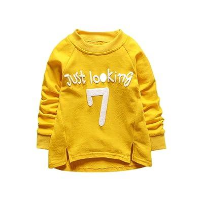 AliveOT AliveGOT Toddler Baby Kid Boys Girls Solid Letter Pullover Irregular T-Shirt Tops Sweatshirt Outfits