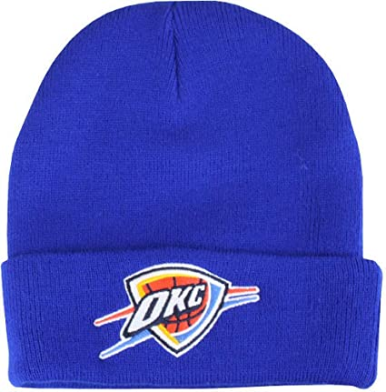 new arrival 0b222 c47d4 Amazon.com   Mitchell   Ness Oklahoma City Thunder XL Logo Beanie Hat -  Blue   Sports   Outdoors