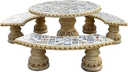 Tavolo Esterno Con Piastrelle : Degarden set di tavolo pranzo rotondo e panche con schienale per