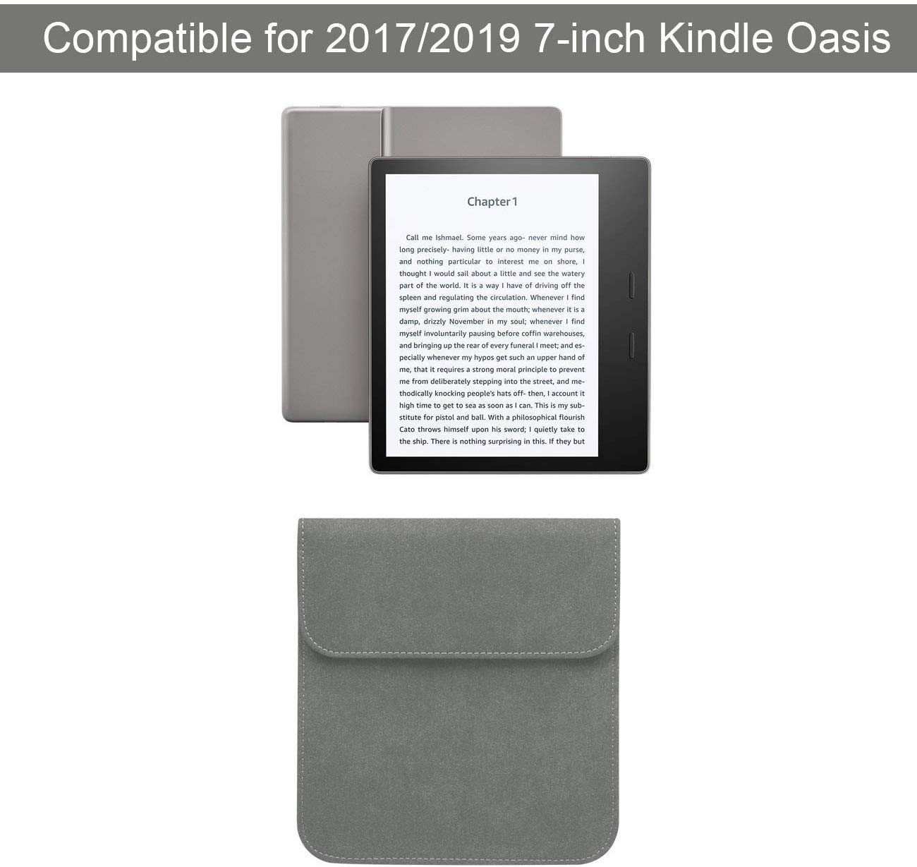 Gray 9th Generation 2017 Emoly Leather Kindle Sleeve for Kindle Paperwhite 7 E-Reader Protective Insert Sleeve Case Cover Bag Fits Kindle Paperwhite 10th Generation 2019
