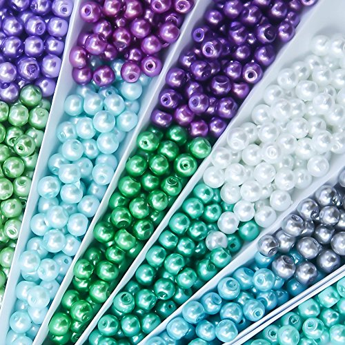 TOAOB 1100pcs 4mm Multi Color Round Glass Pearl Beads Loose Spacer Beads Findings for DIY Craft Necklaces Bracelets Jewelry Making