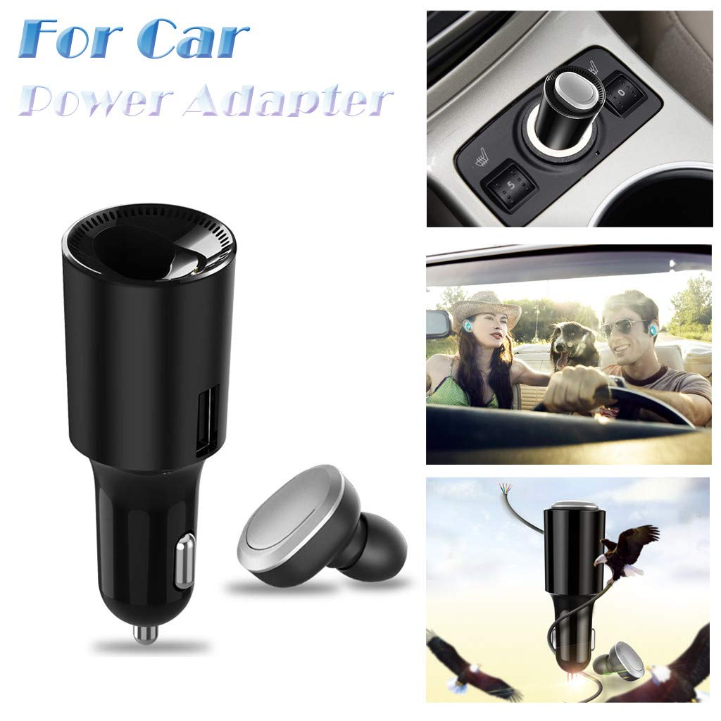 Lljin 2in1 Bluetooth Earbuds USB Car Charger Adapter V4.1 Bluetooth Headphones W/Mic