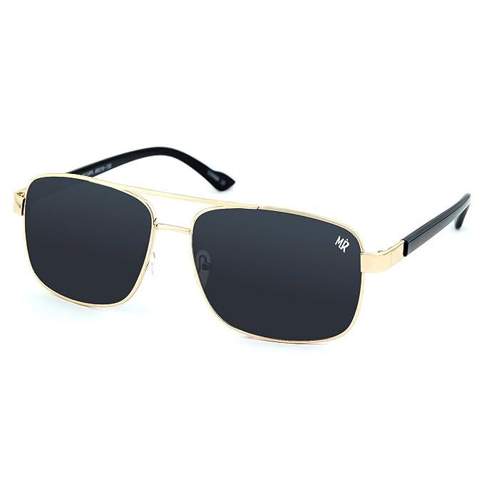 Gafas de sol polarizadas MYRETRO® - mod. TOWER HILL hombre - mujer, con tapa PLANA de METAL de la moda unisex - GOLD: Amazon.es: Ropa y accesorios