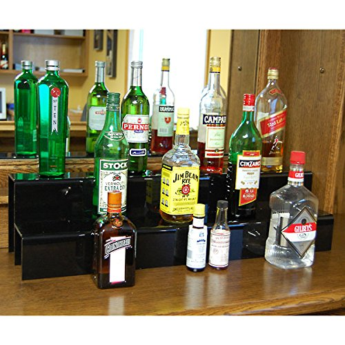 KegWorks 2-Tier Liquor Bottle Step Shelf - Black Acrylic - 34 Inches Long (Bottle Shelves Liquor)