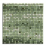 Royllent Modern Matel Aluminum Mosaic Bursh Type Peel&Stick Tiles Kitchen Decoration Backsplash Accent wall Tv&Sofa Background Bathroom Wall 1 Sq.ft Sea Nets (Green)