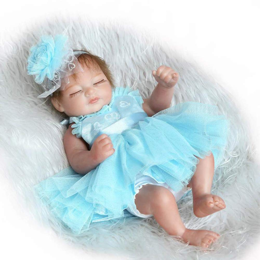 Homesave Reborn Baby Whole Body Simulation Silicone 27Cm Girl Impermeable Regalo De Halloween,Blue