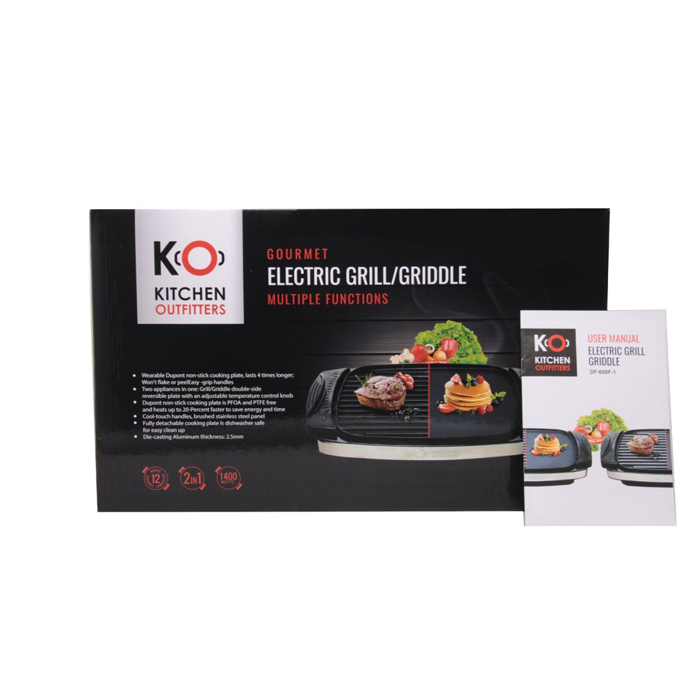 Kitchen Outfitters Portable Electric Grill Skillet Griddle