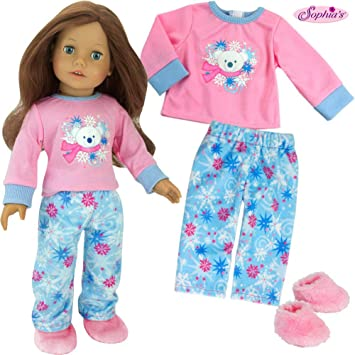 "NEW Sophia/'s Brown Leopard 2 Piece Pajamas Set for 18/""Doll American Girl"