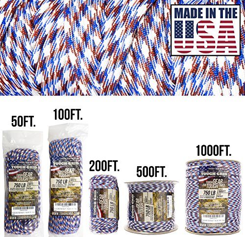 (TOUGH-GRID 750lb Patriot Paracord/Parachute Cord - Genuine Mil Spec Type IV 750lb Paracord Used by The US Military (MIl-C-5040-H) - 100% Nylon - Made in The USA. 1000Ft. - Patriot)