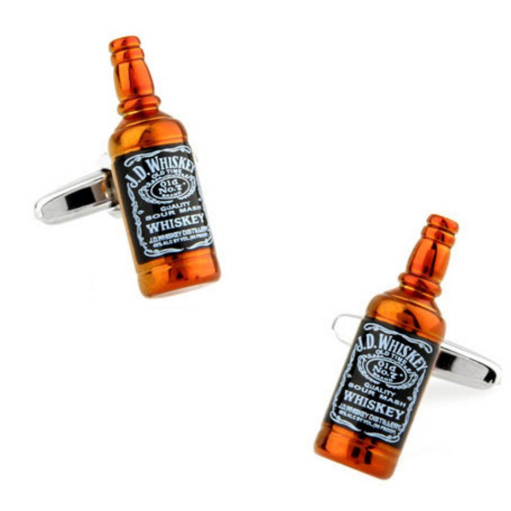 SS Jack Daniels Wine Beer Bottle Cufflinks for Men