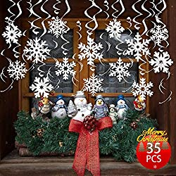 FRIDAY NIGHT 35PCS Frozen Theme Party Christmas Snowflake 3-D Snowflake Hanging Swirls for Christmas Year Decoration , Suitable for Party & Home Decor