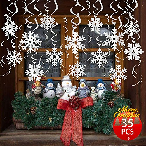 FRIDAY NIGHT 35PCS Frozen Theme Party Christmas Snowflake 3-D Snowflake Hanging Swirls for Christmas New Year Decoration , Suitable for Party & Home -