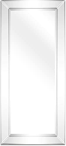 Empire Art Direct Moderno Wall, Solid Wood Frame with 1 -Beveled Center Rectangular Mirror for Bathroom,Bedroom,Living Room,Ready to Hang, 24 x 54 , Clear
