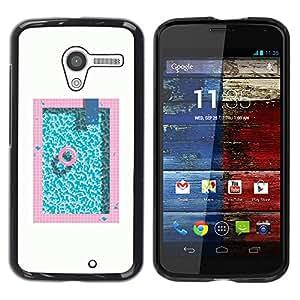 TopCaseStore / la caja del caucho duro de la cubierta de protección de la piel - Pool Minimalist White Pink Blue Lifesaver - Motorola Moto X 1 1st GEN I XT1058 XT1053 XT1052 XT1056 XT1060 XT10