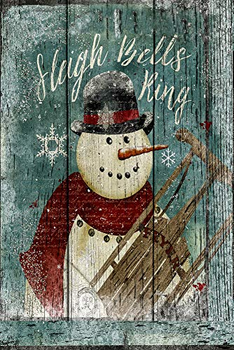 (Christmas Sleigh Bells Ring Snowman with Sled and Snow, Winter Decorative Garden Flag, Double Sided, 12