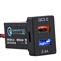 Cllena Dual USB Port Charger Socket Quick Charge 3.0 & 2.4A for Toyota