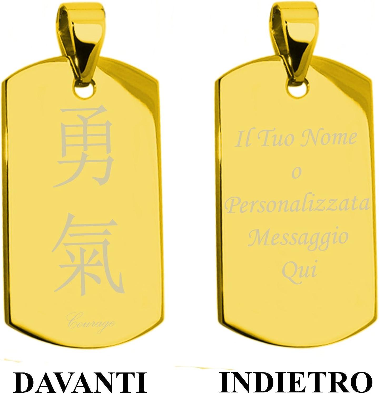 Plaqu/é Or Acier Inoxydable Courage Calligraphie Chinoise Traditionnelle Plaque didentification Pendentif /à Gravure Personnalis/ée