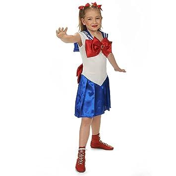 Los niños traje marinero niña vestido blanco azul rojo para ...