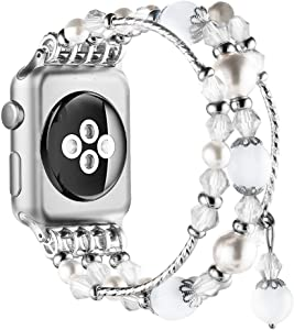 Simpeak Beaded Fashion Band Compatible with Apple Watch 38mm 40mm Series 6 SE 5 4 3 2 1, Handmade Beaded Elastic Women Bracelet Replacement for iWatch 38 40, Fixed Size 5.7-6.9, White