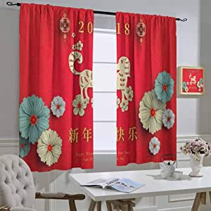 Amazon.com: hengshu Blackout draperyYear of The DogFloral ...